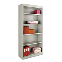 Alera SB627234LG Steel Bookcase, 5 Shelves, 34-1/2w x 13d x 72h, Light Gray ALESB627234LG ALE SB627234LG
