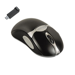Fellowes Optical Cordless Mouse, Antimicrobial, Five-Button/Scroll, Black/Silver