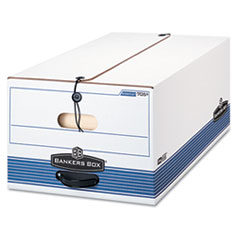 Stor/File Storage Box, Button Tie, Legal, White/Blue, 12/Carton
