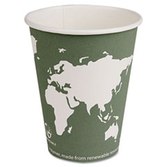 Eco-Products World Art Renewable Resource Compostable Hot Cups, 12 oz, Green, 50/Pack