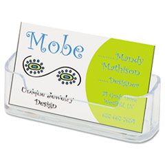 deflect-o Horizontal Business Card Holder, 3 3/4w x 1 7/8h x 1 1/2d, Clear