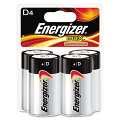 Energizer MAX Alkaline Batteries, D, 4 Batteries/Pack