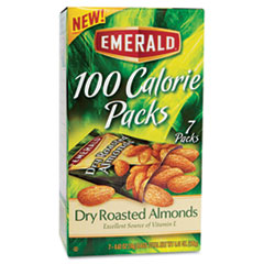 Emerald 100 Calorie Pack Dry Roasted Almonds, .63oz Packs, 7/Box