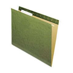 Pendaflex Reinforced Hanging File Folders, Untabbed, Kraft, Letter, Standard Green, 25/Box