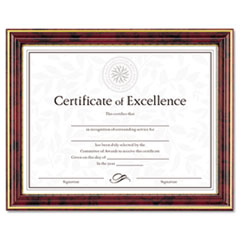 Gold-Trimmed Document Frame w/Certificate, Wood, 8-1/2 x 11, Mahogany