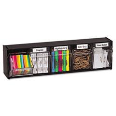 deflect-o Tilt Bin Plastic Storage System w/5 Bins, 23 5/8 x 5 1/4 x 6 1/2, Black