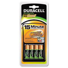 Duracell CEF15DX4 NiMH 15-Minute Battery Charger, 4 Pre-Charged Rechargeable AA Batteries DURCEF15DX4 DUR CEF15DX4