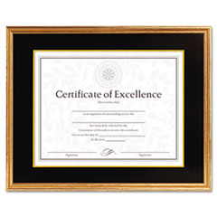 DAX Hardwood Document/Certificate Frame w/Mat, 11 x 14, Antiqued Gold Leaf