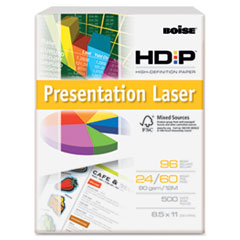 Boise HD:P Presentation Laser Paper, 96 Brightness, 24lb, 8-1/2x11, White, 500/Ream