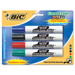 BIC Great Erase Bold Dry Erase Markers, Chisel Tip, Assorted, 4/Pack