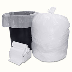 Boardwalk Low-Density Can Liner Smart Packs, 33 Gal., 0.6 ml, White, 75/Carton