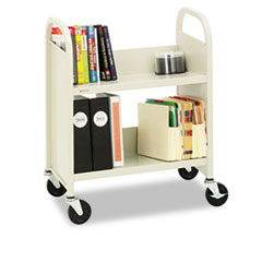 Steel Slant Shelf Single-Sided Book Cart/Stand, 2-Shelf, 26 x 14 x 32, Putty