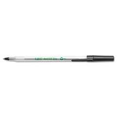 BIC Ecolutions Round Stic Ballpoint Pen, Black Ink, Medium, Dozen