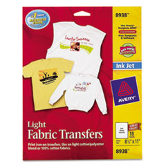 Avery Fabric Transfer, Light Colored Fabric, 8-1/2 x 11, White, 18/Pack