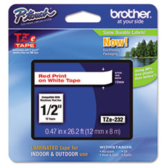 Brother P-Touch TZe Standard Adhesive Laminated Labeling Tape, 1/2w, Red on White