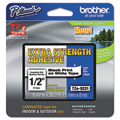 Brother P-Touch TZe Extra-Strength Adhesive Laminated Labeling Tape, 1/2w, Black on White