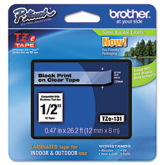 Brother P-Touch TZe Standard Adhesive Laminated Labeling Tape, 1/2w, Black on Clear