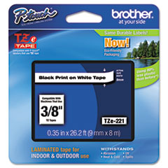 Brother P-Touch TZe Standard Adhesive Laminated Labeling Tape, 3/8w, Black on White