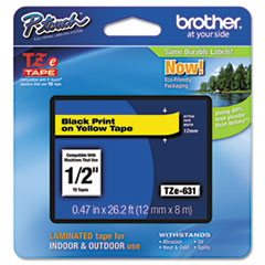 Brother P-Touch TZe Standard Adhesive Laminated Labeling Tape, 1/2w, Black on Yellow