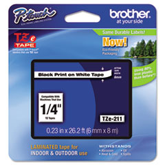 Brother P-Touch TZe Standard Adhesive Laminated Labeling Tape, 1/4w, Black on White