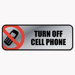 COSCO SIGN TURN OFF CELL PHN SV Brushed Metal Office Sign, Turn Off Cell Phone, 9 X 3, Silver-red