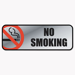 Brush Metal Office Sign, No Smoking, 9 X 3, Silver/red