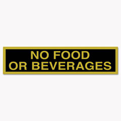 COSCO Business Decal Sign, No Food or Beverages, 4 x 8 1/2, Black/Gold