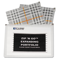 C-Line ZipNGo Expanding Portfolio, Letter, 13 Pockets, Plaid/Clear, 1/EA