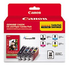Canon 0628B027 Inks & Paper Pack, PGI-5, CLI-I8, Black; Cyan, Magenta, Yellow