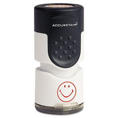 Accustamp Pre-Inked Round Stamp with Microban, Smiley, 5/8