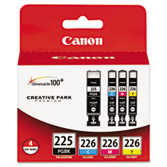 Canon 4530B008AA (PGI-225, CLI-226) Ink Tanks, 19 mL, 9 mL, CMYK, 4/Pk
