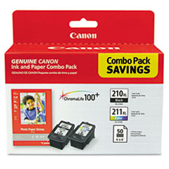 Canon 2973B004 Inks & Paper Pack, PGI-210XL, CL211XL, 2 Inks & 50 Sheets 4 x 6 Paper