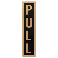 COSCO Business Decal Sign, Push/Pull, 1 7/8 x 7 3/4, Black/Gold