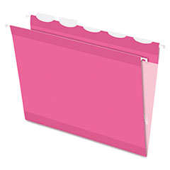 Pendaflex Ready-Tab Colored Reinforced Hanging File Folders, Letter, Pink, 20/Box