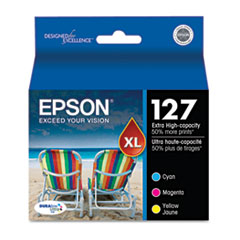 Epson T127520 (127) Extra High-Yield Ink, Cyan, Magenta, Yellow, 3/Pack