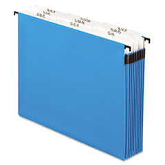 Pendaflex 3 1/2 Inch Expansion Hanging File, Tabs and Labels, Letter, Nine Sections, Blue
