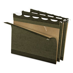 Pendaflex Ready-Tab Reinforced Hanging Folders, 1/5 Tab, Letter, Stnd Green, 25/Box