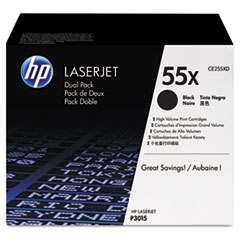 HP 55X, (CE255XD) 2-pack High Yield Black Original LaserJet Toner Cartridges