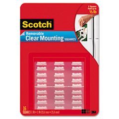 Scotch Mounting Squares, Precut, Removable, 11/16 x 11/16, Clear, 35/Pack