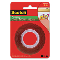 Scotch Double-Sided Mounting Tape, Industrial Strength, 1 x 60, Clear/Red Liner