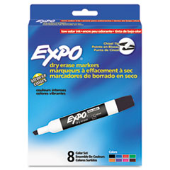 EXPO Low Odor Dry Erase Marker, Chisel Tip, Assorted, 8 per Set