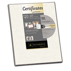 Southworth Parchment Certificate Paper w/CD, Ivory, 24 lbs.,  8-1/2 x 11, 120/Pack