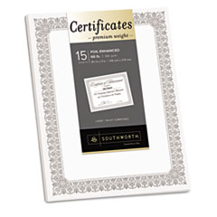 Southworth Premium Certificates, White, Fleur Silver Foil Border, 66 lb, 8.5 x 11, 15/Pack