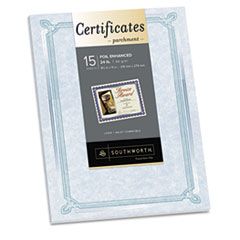 Southworth Foil-Enhanced Parchment Certificates, Blue/Green/Silver, 24 lb, 8.5 x 11, 15/Pk