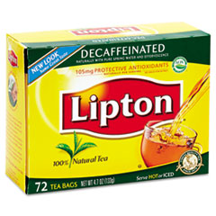 Lipton Tea Bags, Decaffeinated, 72/Box