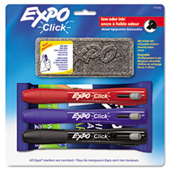 EXPO Click Dry Erase Marker Starter Set, Eraser/Wipes/Markers, Chisel, Asstd, 3/Set