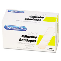 PhysiciansCare First Aid Plastic Bandages, Box of 100, 3/4