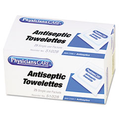 PhysiciansCare First Aid Antiseptic Towelettes, 25/Box