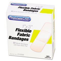 PhysiciansCare First Aid Fabric Bandages, Box of 50, 1