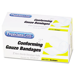 PhysiciansCare First Aid Conforming Gauze Bandage, 2 Rolls Per Box, 2